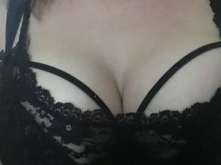 Wife's huge tits in lingerie
