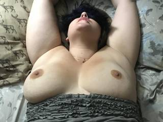 Mrs D loves to be blindfolded and cuffed! Makes her pussy soaking wet! Look at those hot big tits!!
