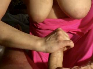 Stroking my husbands cock after 3 weeks of Dildos it feels great to have a throbbing hard cock in my hands
