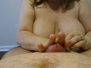 I think I roll that hard, thick cock like pastry. Hubby goes crazy when I do this. I wonder why... Maybe my video will have some answers.