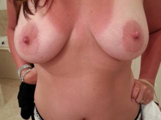 Looooove your beautiful tits...perfect size, shape, big aerola (my favorite!) and deliciously hard nipples!!