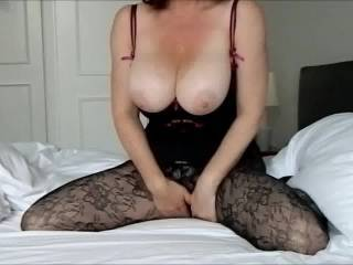 wife pushing her big tits out to cum over. 