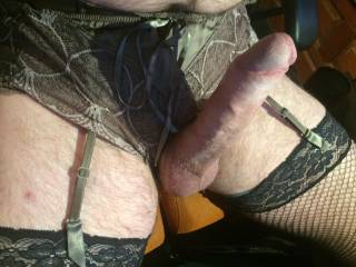 That is so very sexy my pussy is dripping. Wish I was in front of you dressed like that xx