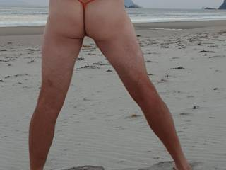 Day at the nude beach. Me in a g-string on the beach.