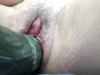 I got so horny at work that I had to get a long, fat cucumber and coconut oil from the grocery store on my lunch break and make myself cum in the store parking lot. Just listen to how hard I cum and how hard I breathe getting this fat cock inside!