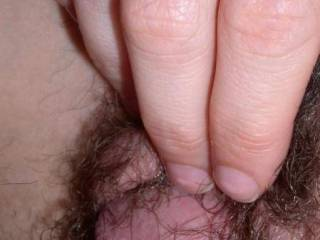 fantastic close up of your ladys hairy pussy and your lovely cock head-so sexy