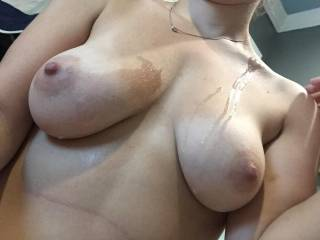 your breasts look lovely with hot cum on them. if you need any help cleaning...let me know :)