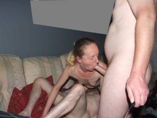 Our friend eating her pussy while Joanne sucked on my cock