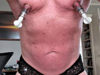 Goes with today\'s video. Put nipple suckers on.