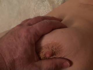 I just love having him fondle my big tits and watching my nipples get hard. Would love to have another woman help him, any volunteers??????????????