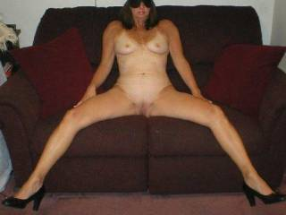 Wife naked on the couch