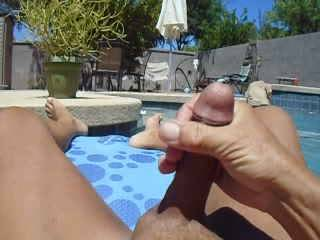 sitting naked on my raft, I got so horny I had to stroke my cock for you to watch....almost fell off when my orgasm reached its peak but I shot a nice juicy load!!