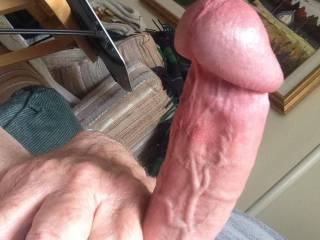 In the midst of a slow stroke session.  Taking a break to enjoy the sensation of my swollen cock.  How would you help?