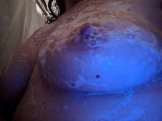Who wants to hose off my soapy hard nipple?