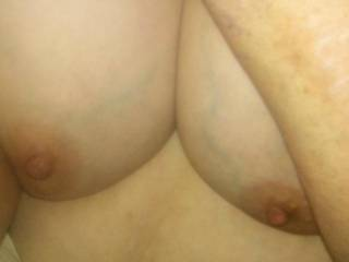 Showing my double d tits. Worthy of a cum tribute picture?