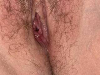 Wife's hairy pussy after a good fuck
