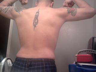 Self pic of back - showing tattoos