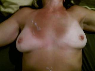 Getting a cum load sprayed on my tits after fucking my friend. I wish it was more cum, I love cum> Do you have a load to share?