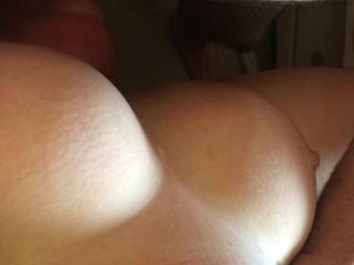 Look at my wife\'s amazing tits as she is being face fucked by a friend