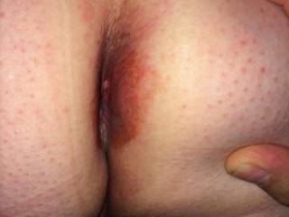 Wife showing me her cum filled ass after fucking a co-worker..... I licked her clean