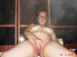 wife naked nude in hottub hot tub showing tits and shaven pussy