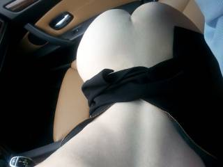 """My secretary was wearing a sexy black dress. She asked me, """"Are you curious what I\'m wearing underneath?"""". I replied, """"Yes!"""". She then said, """"We should go to lunch then."""". This is what she was wearing under the dress!"""