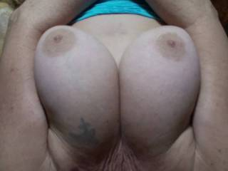 Boyfriend just loves to watch me play with my big soft tits and hard nipples. What is your opinion of these old big tits?