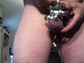 playing with my clamps bought two new ones today had 5 on total 4 on my balls and one on my cock and balls