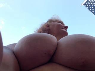 Big Tits outside
