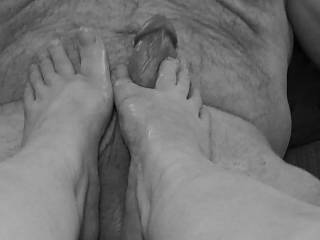 Ladies... Have you enjoyed a hard, thick cock between your toes? Many of you are missing that wonderful feeling of having total control of your man as they love a woman's foot taking care of their cock. And! You'll enjoy all of that cum on your toes. Mmm.