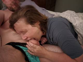 She really does almost have it all. I have to train her throat. Loves cumming with a cock in her throat.