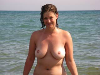 Me topless at the beach