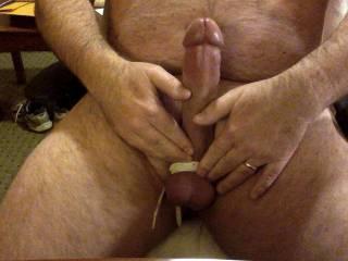 Having a little stretch before masturbating.