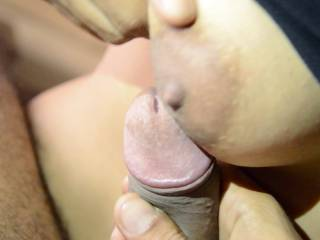 When he offers his wife's tits for my cock to play with. A recent cuckolding-threesome experience where I was invited over to the couple's place.. she sucked our cocks at the same time and he wanted to see her sucking my bbc while he fucked her... so hot!