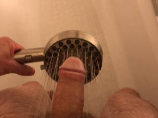 Was getting hard thinking about being told to take these pictures and the feeling of the water on my cock and balls