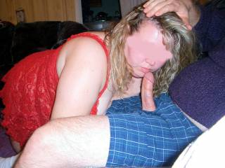 My wife pausing to tell me how much she is enjoying his thick cock, he then pushes her head head to take his cock one more time.