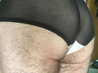 in my wifes white silk panties...