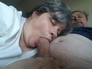 You can see from the bliss on her face how she LOVES to suck cock!