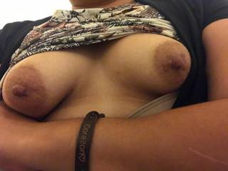 She showed me her tits in the bathroom at work :)