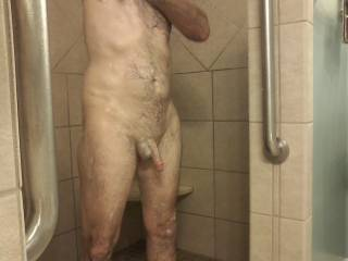 "My hubby and my dick, in the shower. ""Make sure you get that dick clean, we\'ll be using it soon""! Isn\'t he cute in the shower all soapy and wet?"