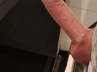 Showing my hard smooth dick