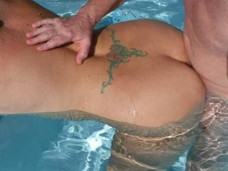 Fucking underwater in the swimming pool at home. His lovely smooth shaven, thick cut cock, fills me up nicely.
