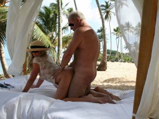 Giving it to her doggie on a beach bed in the DR. Photo taken by a couple we met there. Yes, she fucked the other guy too. Outgoing, fit very well hung guys in Central Virginia, let\'s fuck!
