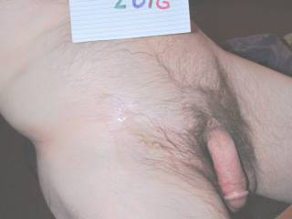 My cock is still hard after releasing my cum upon the front & right side of my skin:)