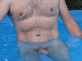 Swimming nude in our friends pool