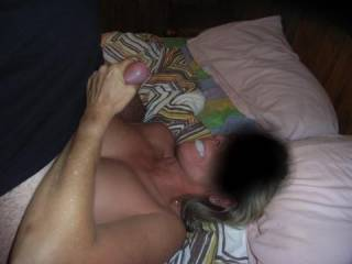Very hot pic.  You have to love a girl that loves cum...she's definitely a keeper.