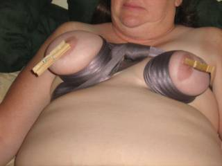 tied tits and clothes pins on her nipples she ame from it