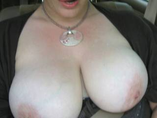 I would first honk, then try to take pics while trying to get you to pull over and chat ;). Perhaps you would do a window cracked conversation to make sure i wasn't a nut-job (no pun intended) which would end up showing off my cock as it grew to the glass to get your big tits =). I would suggest we could drive to a more remote spot and possibly find more interested people for fun on the trip there. I would be flirting and thinking how great its gonna feel to explode all over your face and tits, let alone if you sucked or fucked...Thats just the beginning ;).
