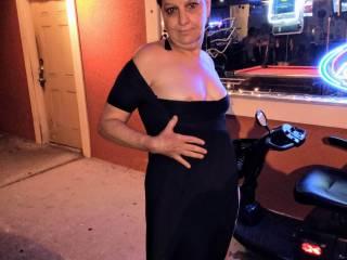 Black dress outside the bar