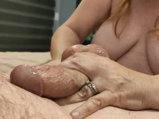 "More ""Married Massaging!"" Would you like me to make your cock look like this while enjoying this view? Maybe you could cum all over my tits..."